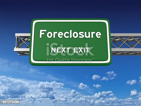 istock Foreclosure Concept Highway Sign 847273498