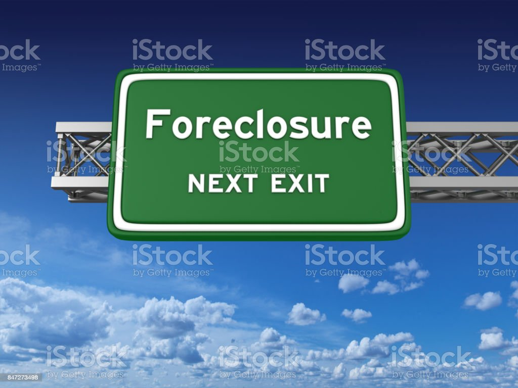 Foreclosure Concept Highway Sign stock photo