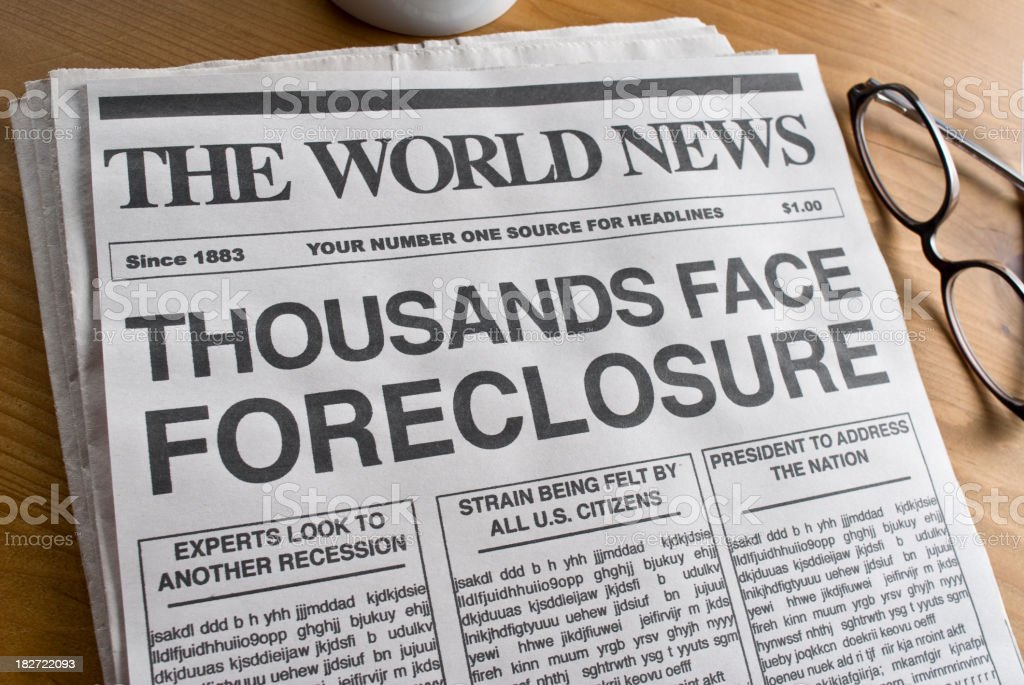 Foreclosure Headline stock photo
