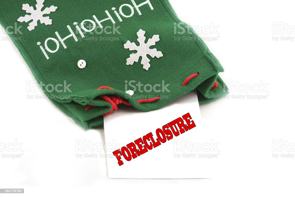 Foreclosure notice for the holidays stock photo
