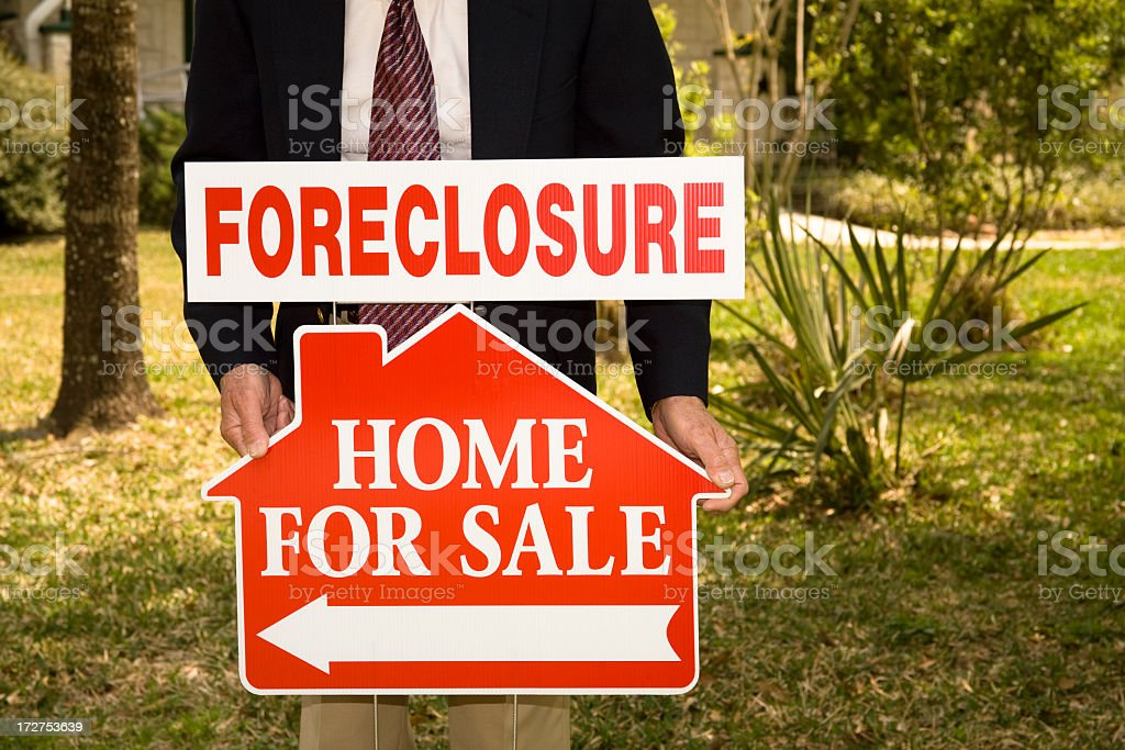 Foreclosure Real Estate Signs. Home for sale. Realtor. royalty-free stock photo