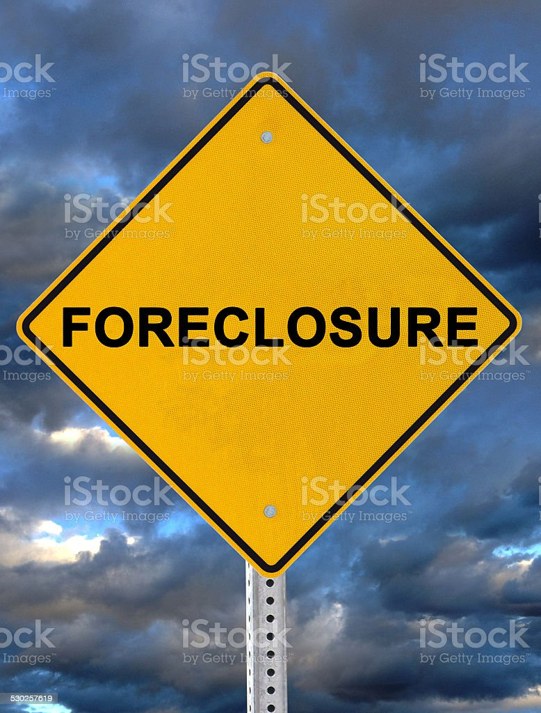 Foreclosure Warning Sign stock photo