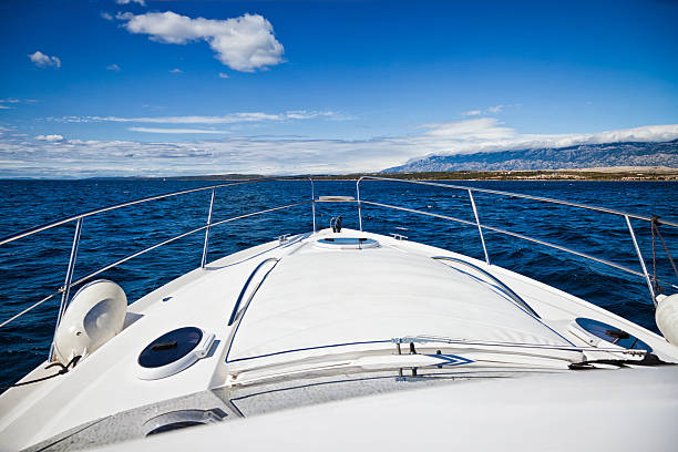 foredeck of modern yacht - yacht front view stock photos and pictures