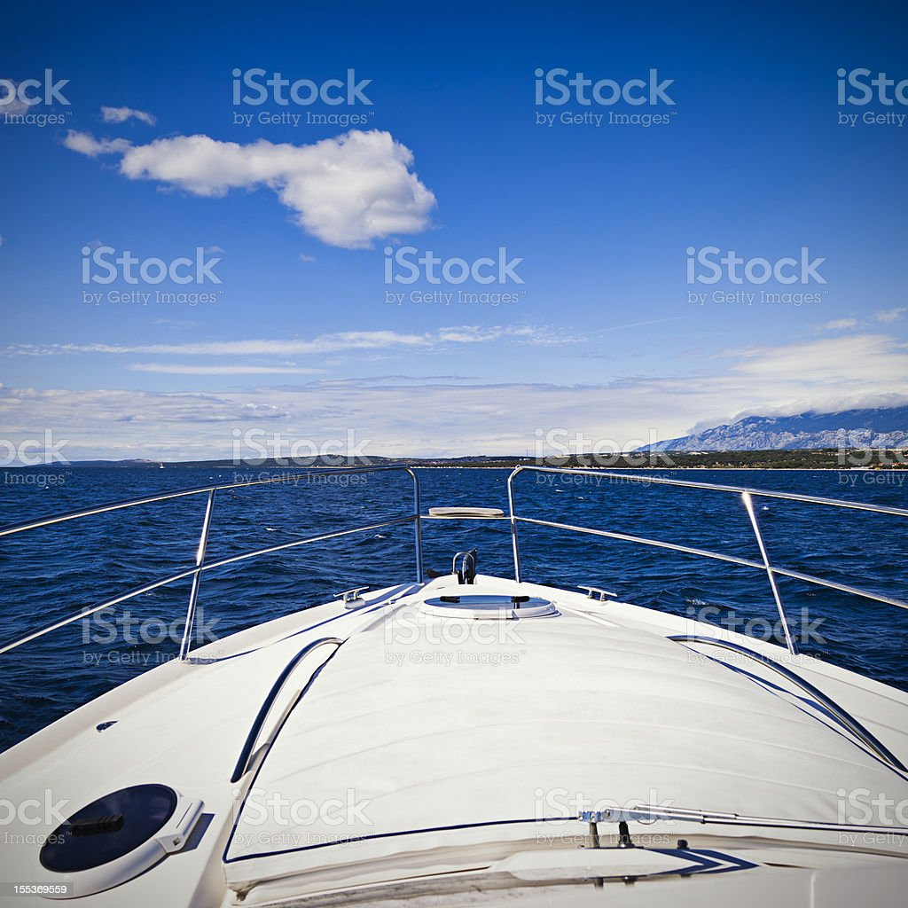 Foredeck of modern yacht royalty-free stock photo
