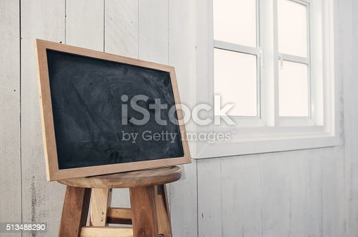 639376084 istock photo Foreground dirty chalkboard on round wooden chair,  near a white 513488290