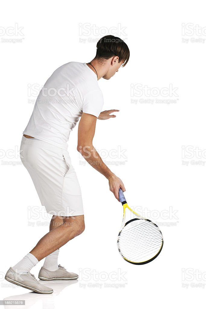 Forehand shot, rear view royalty-free stock photo