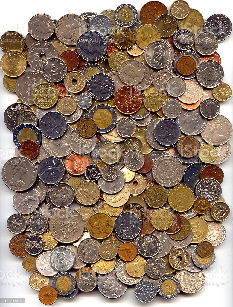 Foreign Coins stock photo