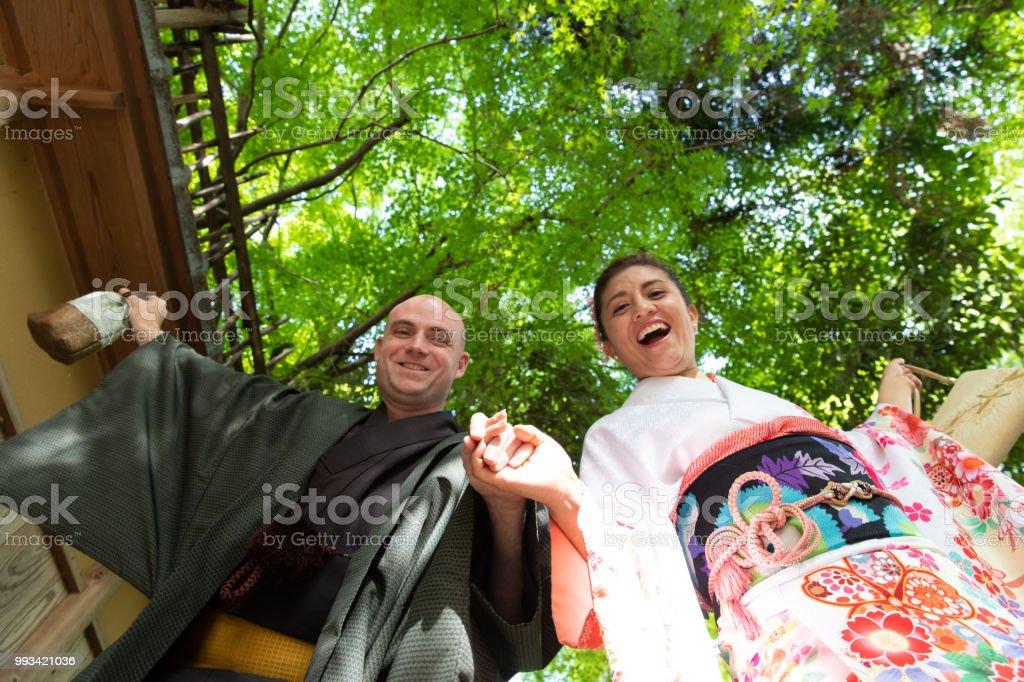 Foreign couple enjoying visit to Japan stock photo