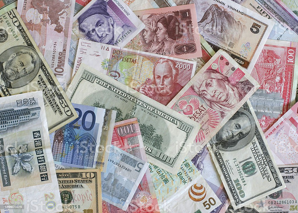 Foreign currency stock photo