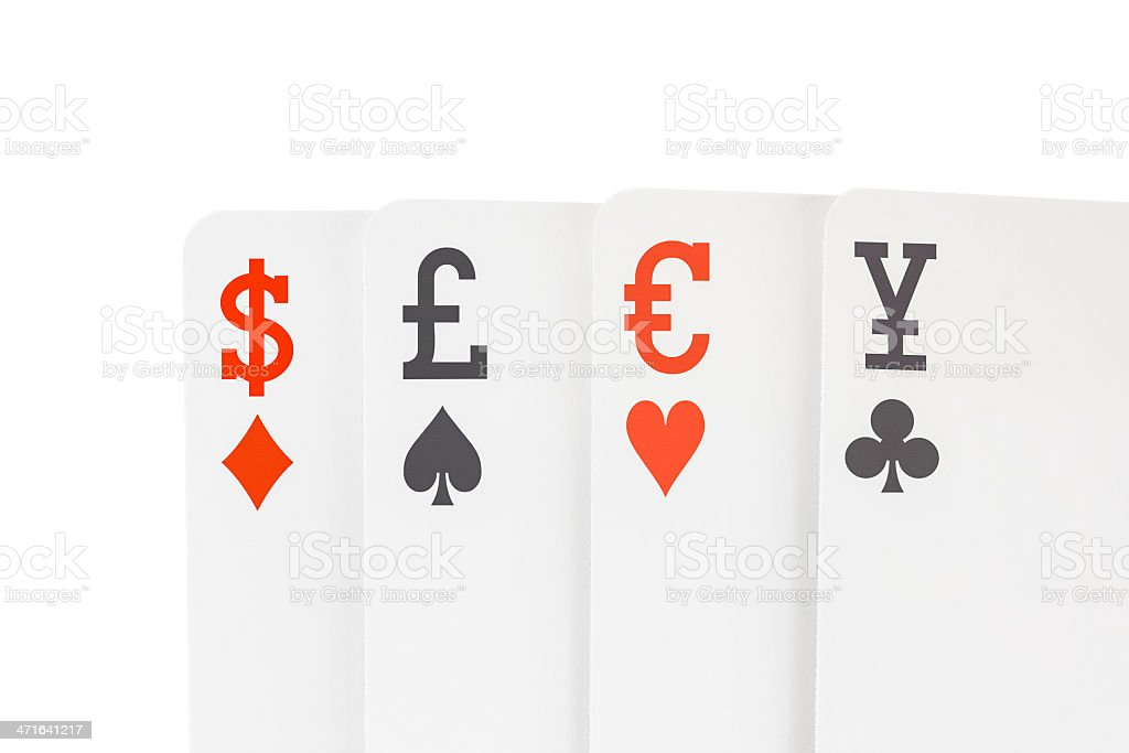 Foreign Exchange Playing Cards with Dollar Euro Pound Yen Symbols royalty-free stock photo