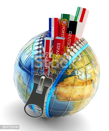 istock Foreign languages learning and translation concept, online translator icon 524723200