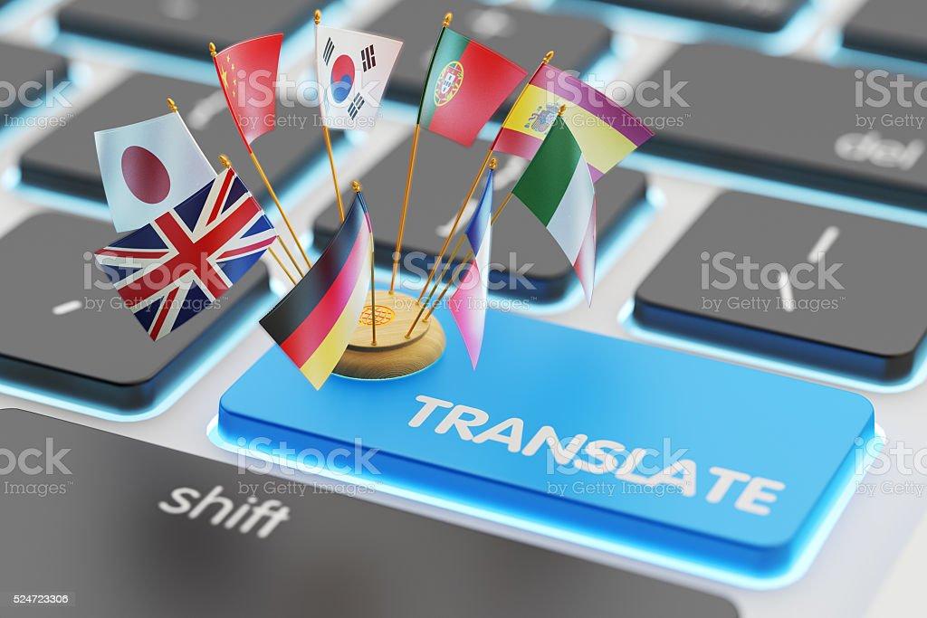 外国語翻訳のコンセプト、オンライントランスレータ ストックフォト