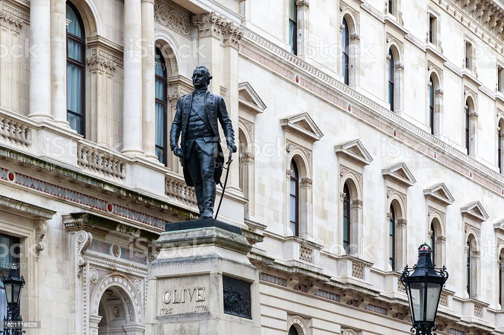 Foreign Office and Robert Clive Memorial in London stock photo