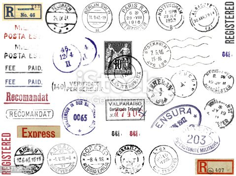 A plethora of postal marks, stamps, and stickers from different countries. England, France, Germany, Italy, Spain, Sweden, Switzerland, Iran… Berlin, Paris, Stockholm... Registered, Censored, Express Mail.