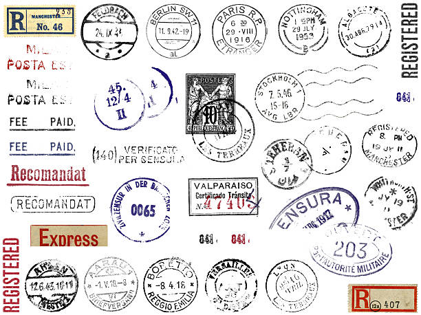 foreign postmarks stamps & stickers europe - stamper stock photos and pictures