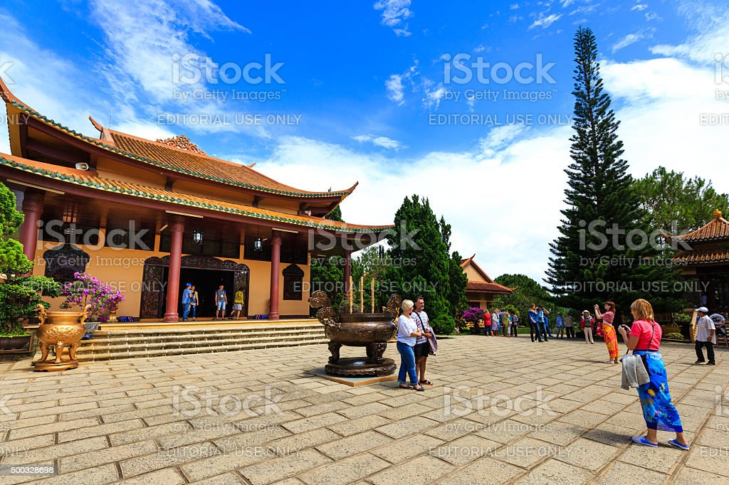 Foreign tourists are visiting Truc Lam monastery-Dalat stock photo