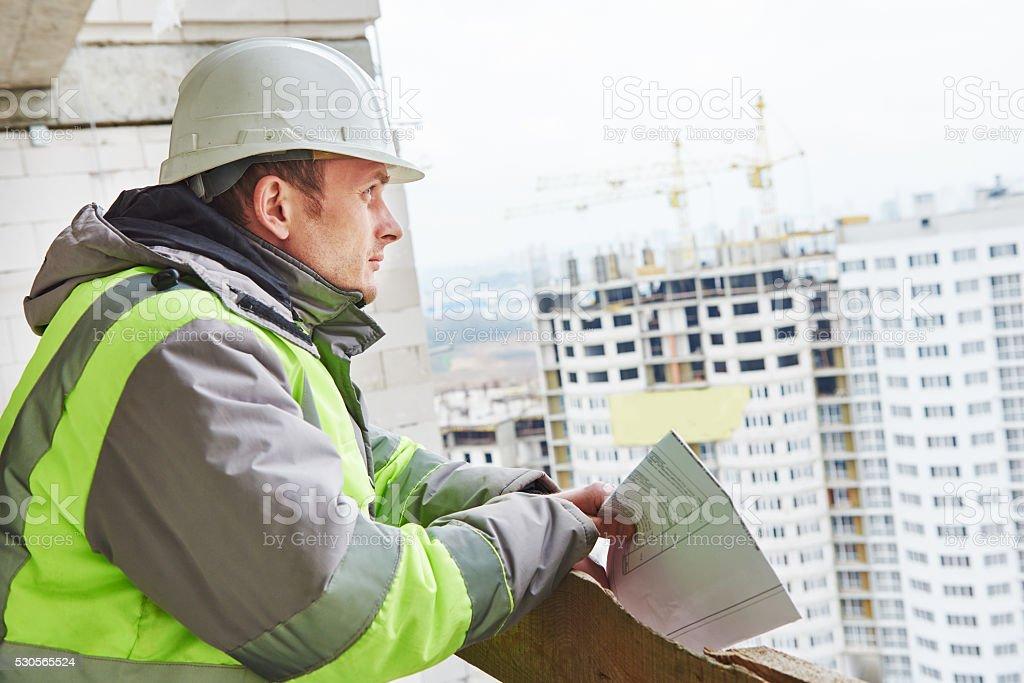 foreman construction engineer worker portrait stock photo