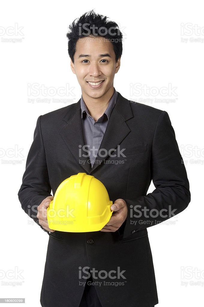 foreman or engineer yellow hard hat in suit isolated royalty-free stock photo
