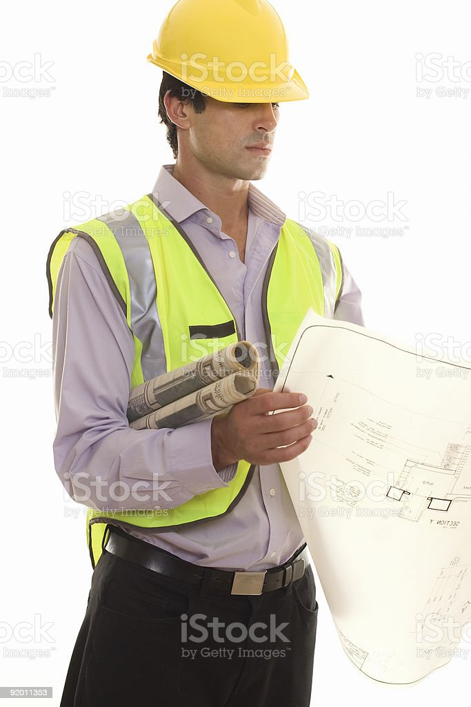 Foreman with Site Plans royalty-free stock photo