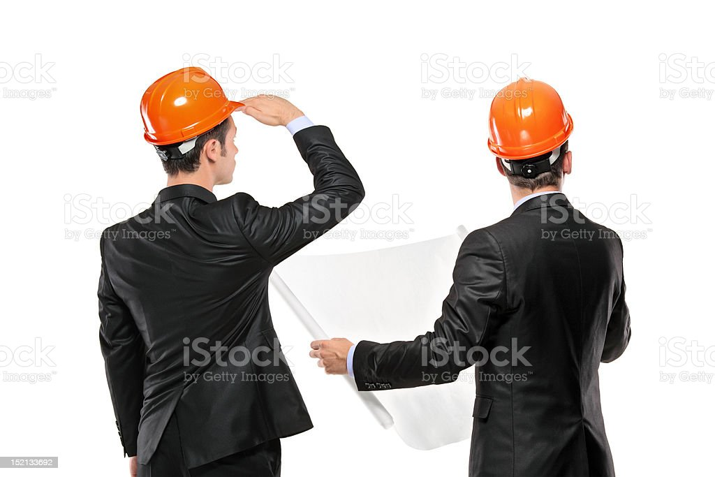 Foremen interacting together at meeting royalty-free stock photo