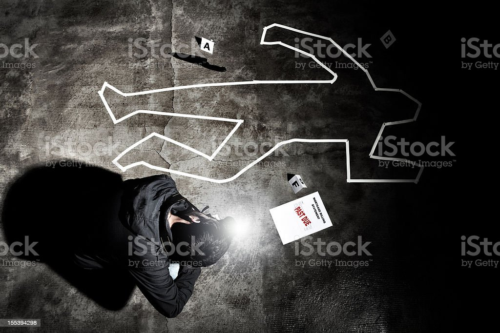Forensic crime scene, photographer in action stock photo
