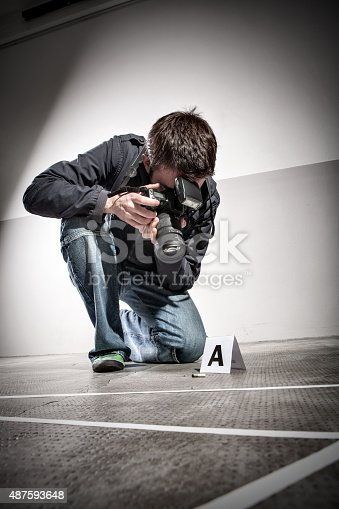 Forensic Photographer At Crime Scene Stock Photo & More Pictures of ...