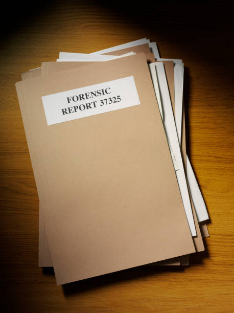 forensic report on the desk - murder mystery stock photos and pictures
