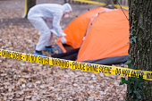 Forensics at the crime scene.