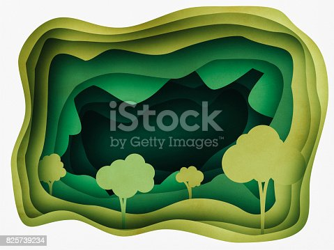 istock Forest Abstract Background Paper cutting style 825739234