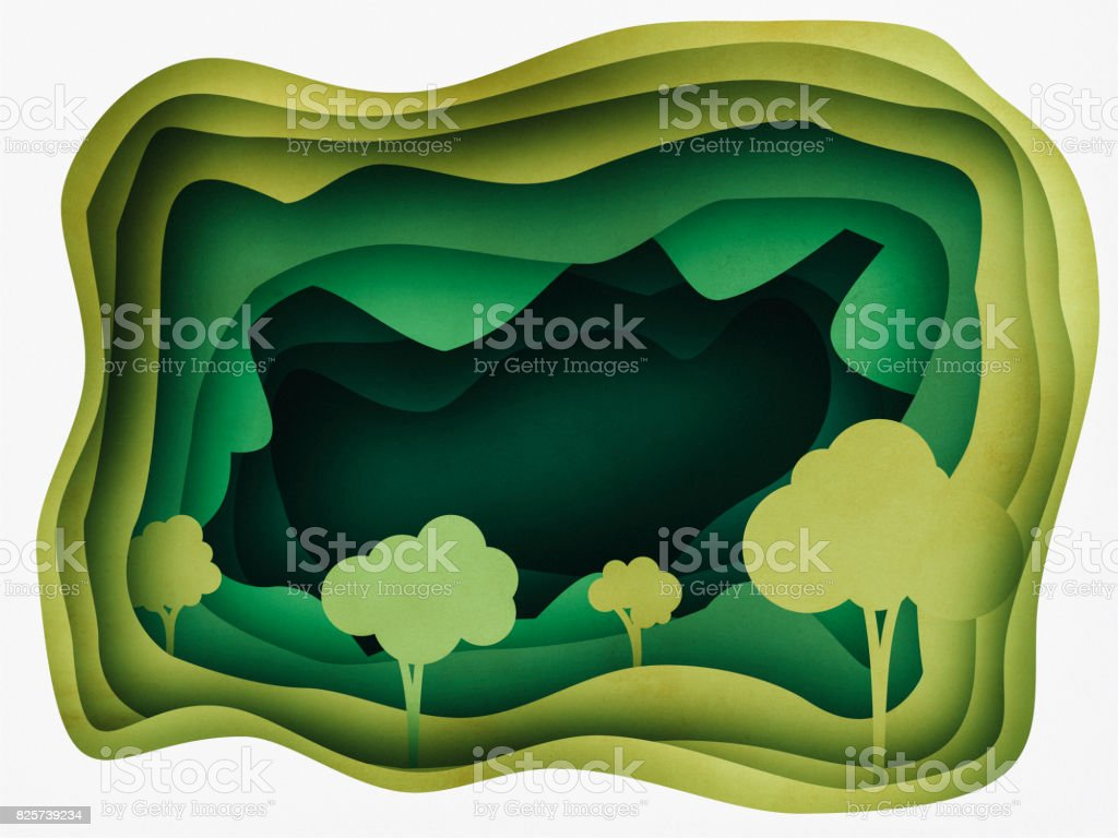 Forest Abstract Background Paper cutting style stock photo