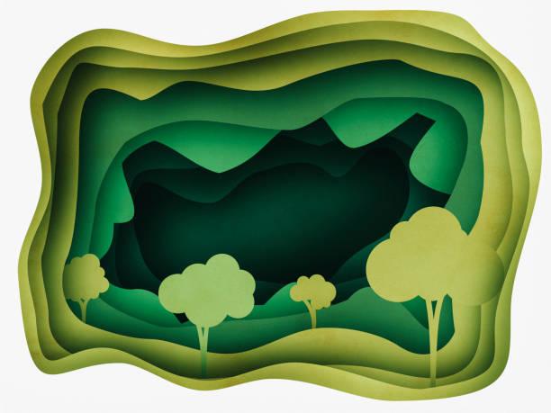 forest abstract background paper cutting style - fumetto creazione artistica foto e immagini stock