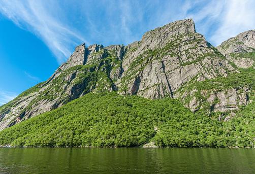 High cliffs at Western Brook Pond in Gros Morne National Park, Newfoundland, Canada.