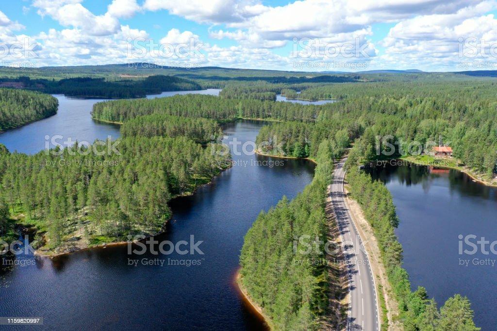 Wald- und Seenlandschaft in Dalarna, Schweden - Lizenzfrei Ansicht von oben Stock-Foto