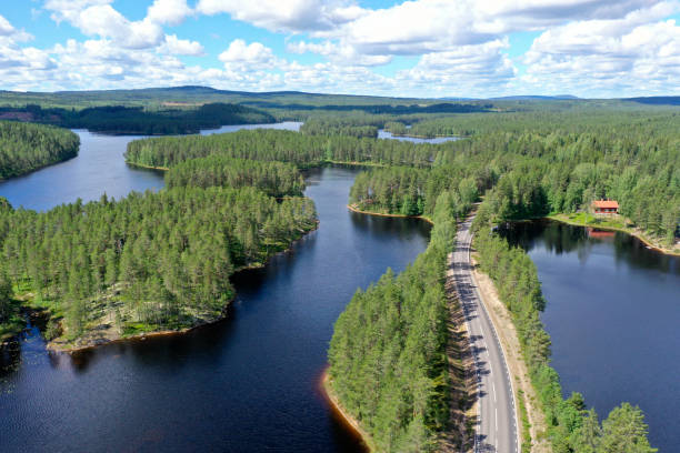 Forest and lake landscape in Dalarna, Sweden stock photo