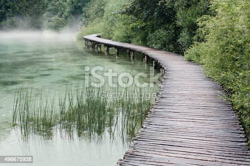 Narrow wooden path suspended over a lake winding throught a forest.