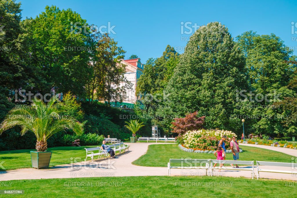 Forest and park and people in Karlovy Vary, Czech stock photo