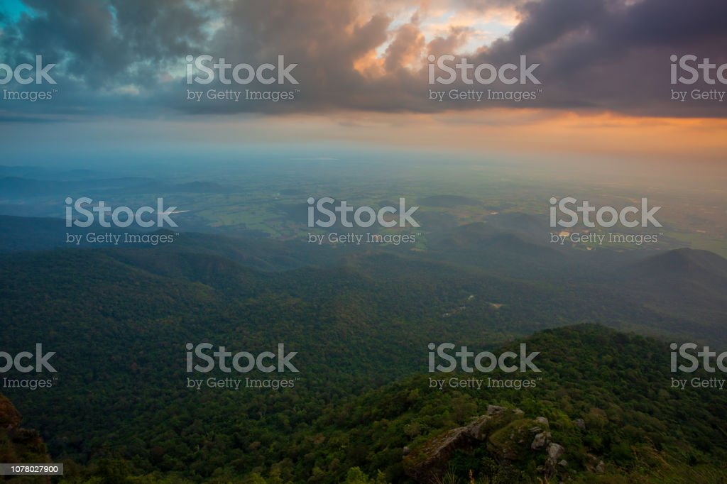 Forest and the top of the mountain in Ramkhamhaeng National Park, Thailand. stock photo