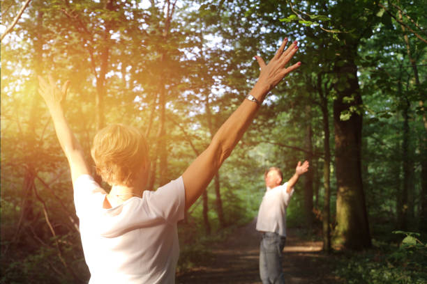 forest bathing (shinrin yoku), nature therapy - forest bathing foto e immagini stock