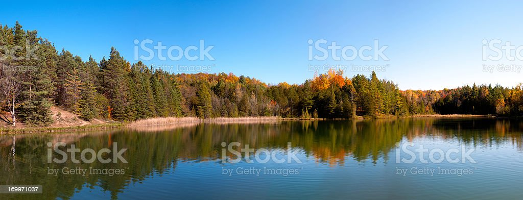 Forest by Inland Lake in Fall stock photo