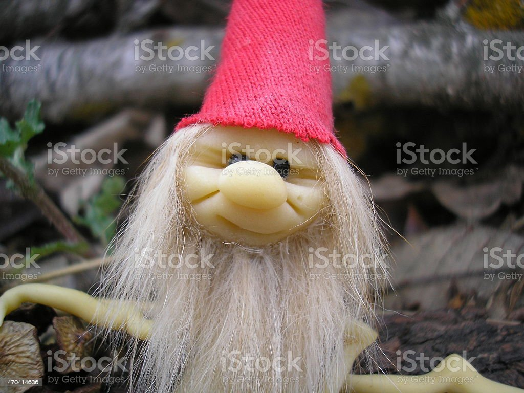 Forest Elf face, Sitting elf, forest, gnomo, elfo, duende del bosque. stock photo