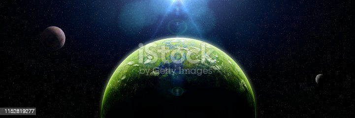 istock forest exoplanet, jungle exoplanet in a distant star system (3d space illustration banner) 1152819277