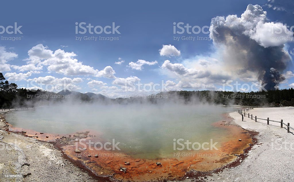 Forest fire in the Wai-o-Tapu geothermal area stock photo