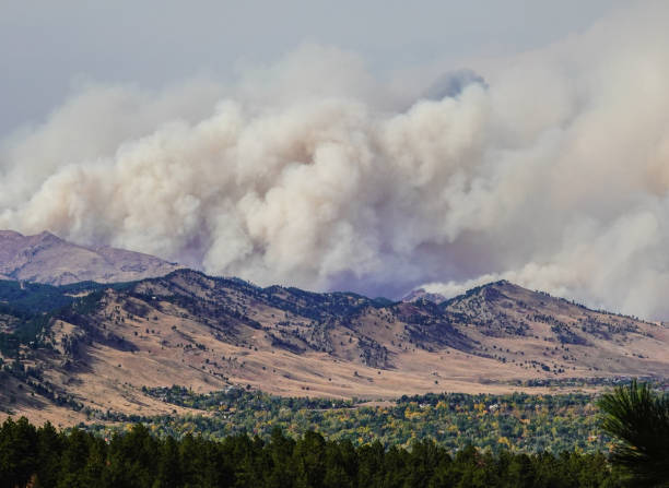 Forest fire near Boulder, Colorado stock photo