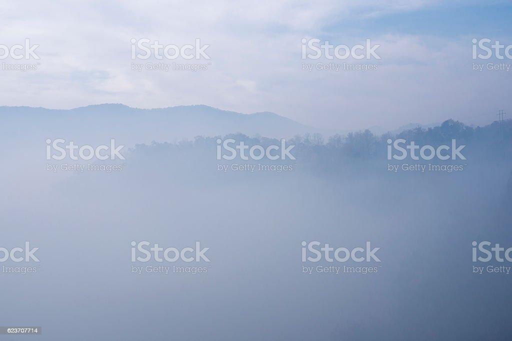Forest fire smoke in western North Carolina stock photo