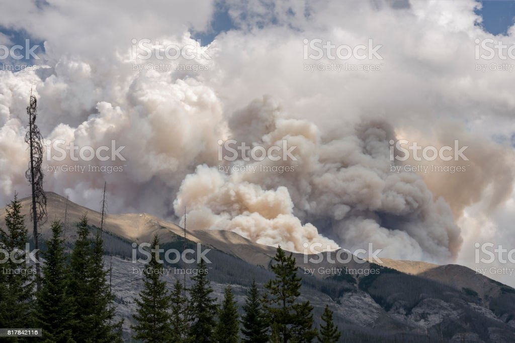 Forest Fire Smoke on Mount Shank in Kootenay National Park stock photo