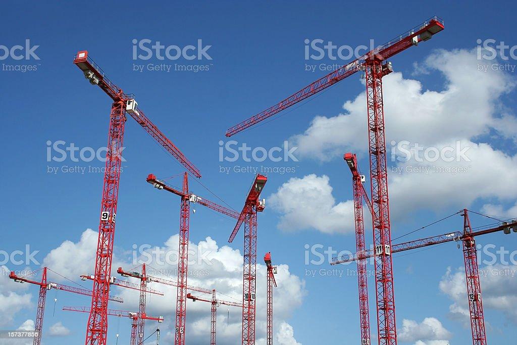 Forest from construction cranes, Hamburg  (Speicherstadt) royalty-free stock photo