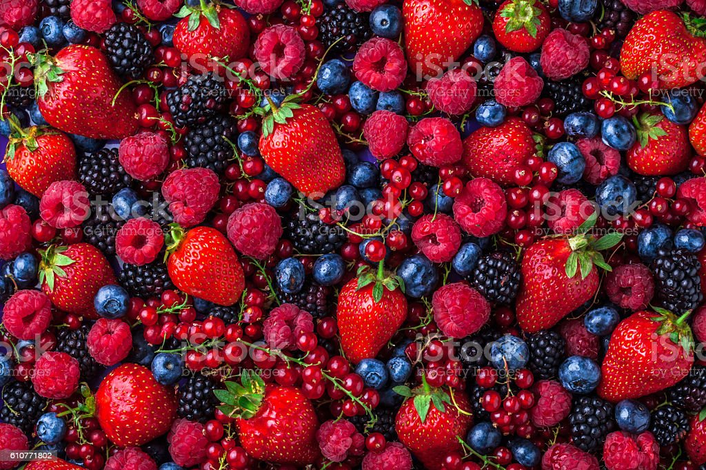 Forest fruit berries overhead assorted mix in studio stock photo