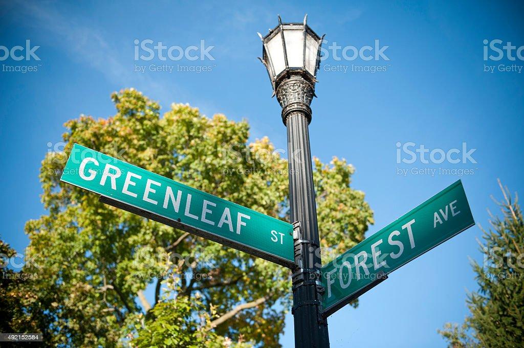 Bosque-Greenleaf señal (Haga clic para obtener más información - foto de stock