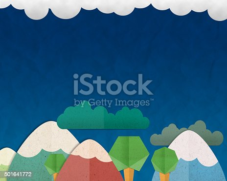 istock Forest Hill and colorful mountain on blue sky background, paper 501641772
