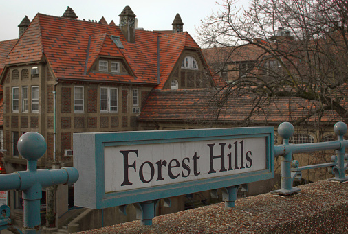 Forest Hills Queens New York Sign Old Tudor Style Building